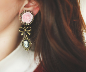 bow, earrings, and fashion image