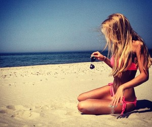 beach, happy, and Hot image