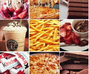food, chocolate, and pizza image