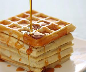 food, waffles, and honey image
