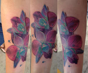 flowers, tattoo, and orchid image