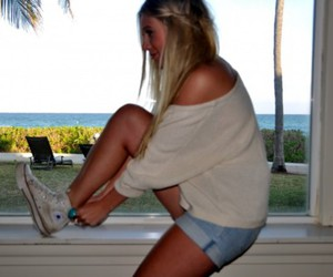 blonde, tan, and converse image