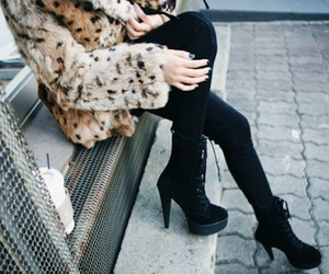 black, black tights, and fur image
