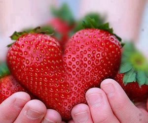 strawberry, heart, and fruit image