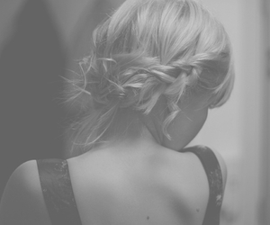 girl, black and white, and braid image