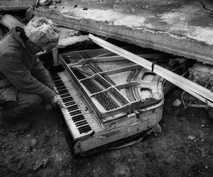 piano, black and white, and men image
