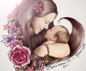 drawing, baby, and mother image