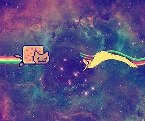 galaxy, nyan cat, and unicorn image