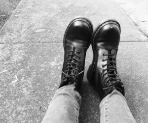 black and white, skinhead, and boots image