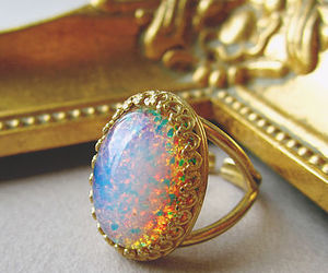 ring, gold, and opal image