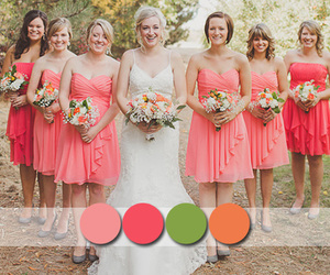 bridesmaid, coral, and countryside image