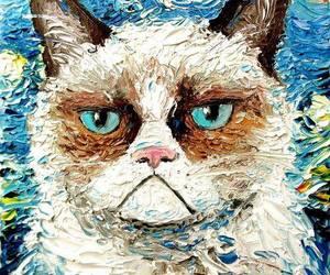cat, art, and grumpy image