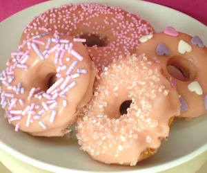 donuts, pink, and yum image