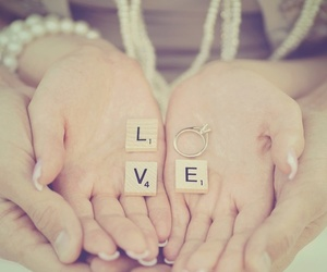 love, couple, and ring image