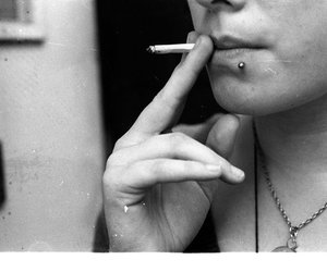b&w, hands, and smoking image