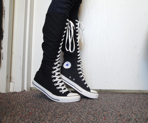 fashion, girl, and knee high converse image