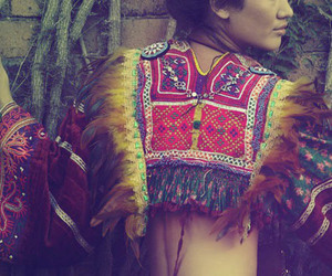 feathers, girl, and navajo image