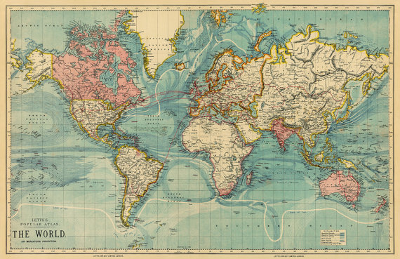 Map Of The World Vintage Map Of The World 34 X By Ancientshades