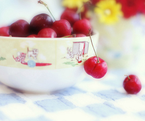 cherry, flowers, and FRUiTS image