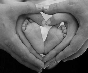 baby, black and white, and couple image