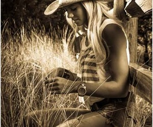 blonde, field, and blue jeans image