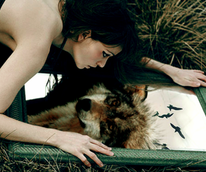 wolf, girl, and mirror image