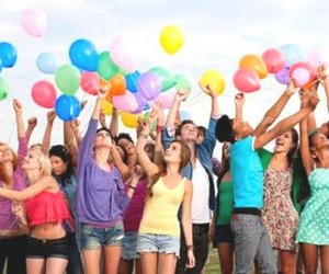 balloons, people, and sky image
