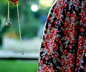 floral, locket, and necklace image