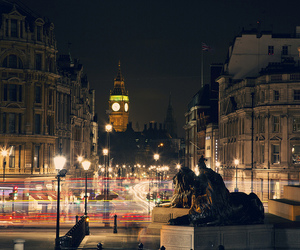 Big Ben, cars, and lights image