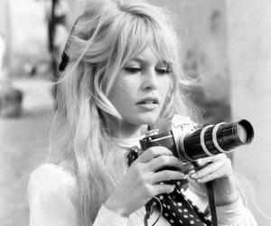 brigitte bardot, camera, and black and white image