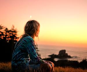 girl, sunset, and sun image