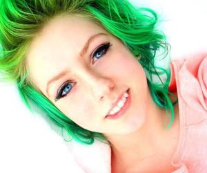green hair, girl, and hair image