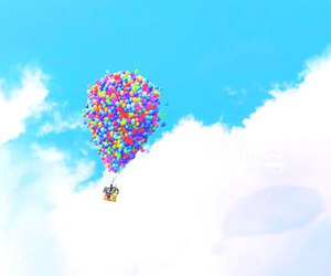 balloons, cute, and clouds image