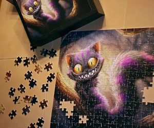 cat, cheshire, and puzzle image