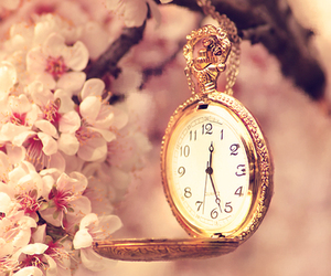 flowers, pink, and clock image