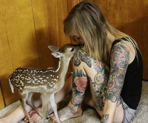 tattoo, girl, and animal image