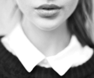 girl, black and white, and lips image