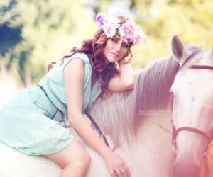 flowers, girl, and horse image