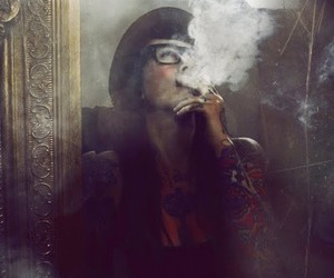 girl, hat, and smoke image