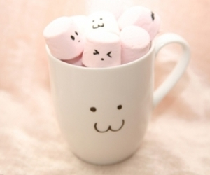 marshmallow, cup, and pink image
