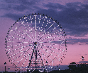 purple, ferris wheel, and sky image