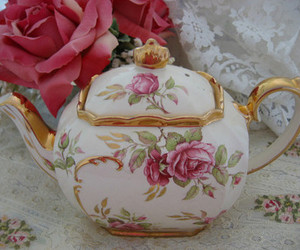 tea, flowers, and teapot image
