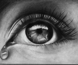eye, drawing, and tear image