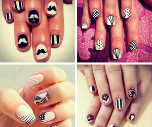 black and white, moustache, and nail polish image
