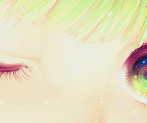 eyes, anime, and green image