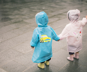 cute, kids, and rain image