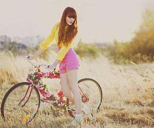 girl, fashion, and bike image