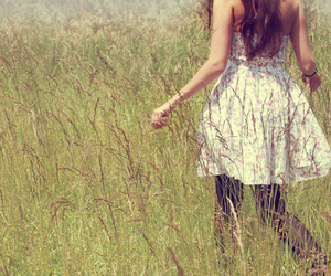 girl, dress, and grass image