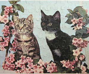 cat, puzzle, and flowers image