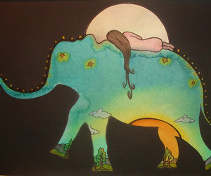 elephant, art, and hippie image